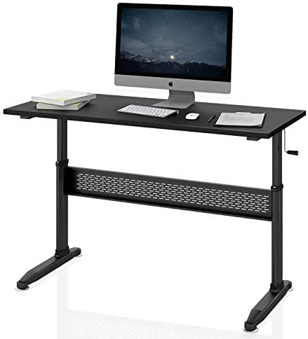 DEVAISE Adjustable Height Standing Desk, 55 inch Stand Up Desk Workstaion with Crank Handle, Black