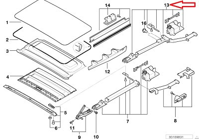 BMW Genuine Sliding Sunroof Right Control Rail for 525i 528i 530i 540i 540iP M5 X5 3.0i X5 4.4i X5 4.6is by BMW