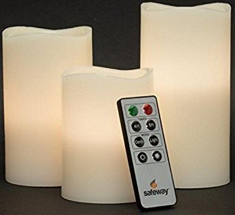 Safeway Candlelites - Set of 3 round LED Candle Lights 4' 5' 6', Flameless Candles, With Flickering Flame, Smooth Real Wax Unscented, With High Performance Remote Control Timer