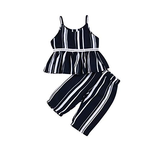 Toddler Little Baby Girl Black Straped Tutu Crop Tops+ Striped Tube Wide Leg Pant Summer Loose Outfit Set Two Piece (Black, 1-2 Years)