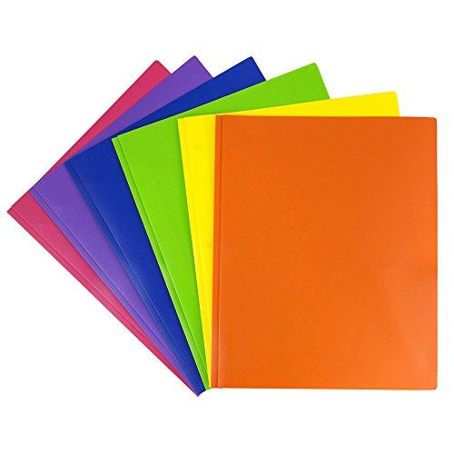 JAM Paper Plastic 2-Pocket Folders - Eco Friendly Folder with Metal Clasps - Assorted Colors - 6 Folders per Pack