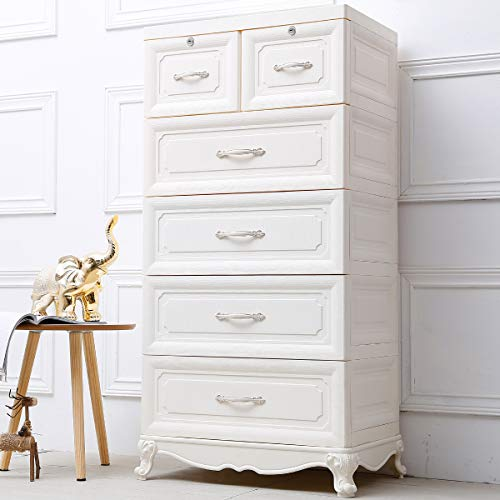 Nafenai Storage 4-Drawer with 2 Cabinets Storage Bins Multi-Storey White Furniture for Bedroom Home Office Livingroom