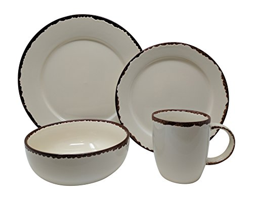 Gianna's Home 16 Piece Rustic Inspired Farmhouse Stoneware Distressed Dinnerware Set, Service for 4 (Ivory) (Shabby Chic Dining Sets)