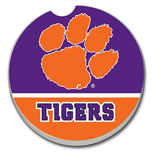 NCAA CounterArt Single Absorbent Stone Fan Car Coaster- Clemson Tigers