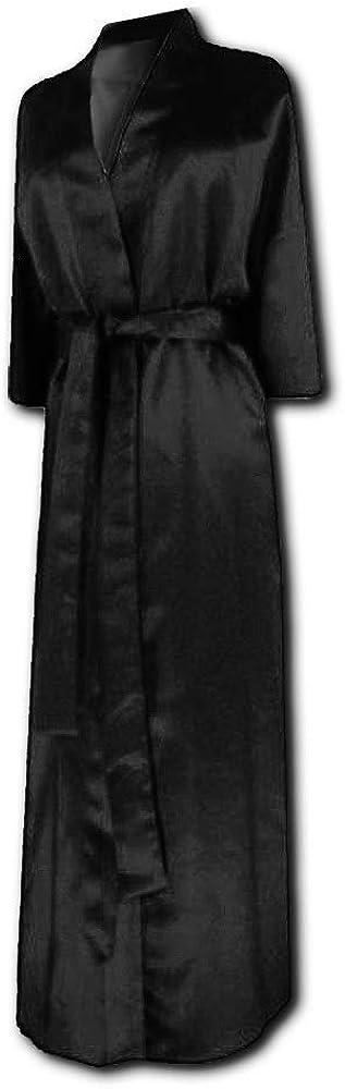 Sanctuarie Designs Plus Size Women's Soft Black Satin Robe