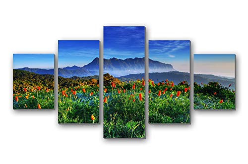 BurgessAlbert Chiang Mai Thailand Chiang Dao Mountain Wildlife Sanctuaries - 5 Panels Wall Art Canvas Stretched with Wooden Frame for Home Decor - Ready to Hang (12