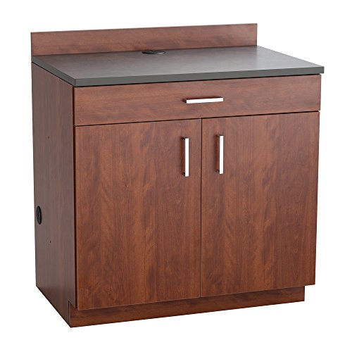Safco Products 1701MH Modular Hospitality Breakroom Base Cabinet, 2 Doors/1 Drawer/1 Adjustable Shelf, Mahogany Base/Rustic Slate Top (Two Drawer One Doors)