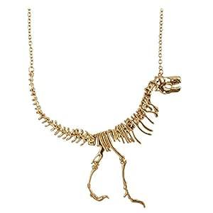 Jane Stone Unique Statement Golden Dinosaur Skeleton Pendant Necklace