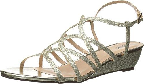 Pink Paradox London Women's Opulent Wedge Sandal,Gold Gli...
