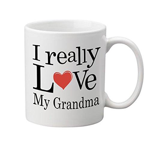 I Really Love My Grandma Coffee Mug - (11 oz.) - One-Sided Print - Ceramic Work Cup for Grandmas, Nana, Nanny, Grandmothers - Thoughtful Gag Gift