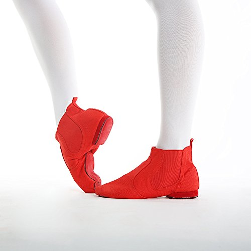 Red Ballet Dance Sole Stage on Boot Modern Slip Canvas Unsex Jazz Shoes Soft Cw76qxY