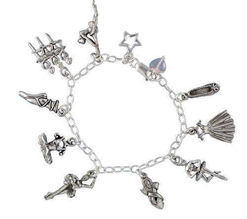 (Night Owl Jewelry Ballet Dancer Charm Bracelet - Pewter Dance Charms on a Sterling Silver Chain- Size 7