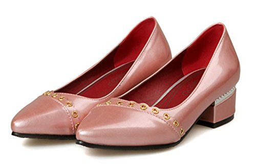 Aisun Womens Fashion Metal Pointed Toe Low Tops Dress Slip On Pumps Chunky Low Heels Shoes Pink TAIjoH
