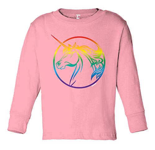 Unicorn Profile - Majestic Magical Long Sleeve Toddler Cotton Jersey Shirt (Light Pink, 5T/6T) - Majestic Classic Pullover