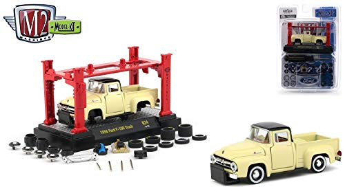 (M2 Machines 1956 Ford F-100 Truck (Yukon Yellow) 2018 Auto-Trucks Model Kit (Release 24) - 1:64 Scale Die-Cast Vehicle & Auto-Lift Building Set (R24 19-04))