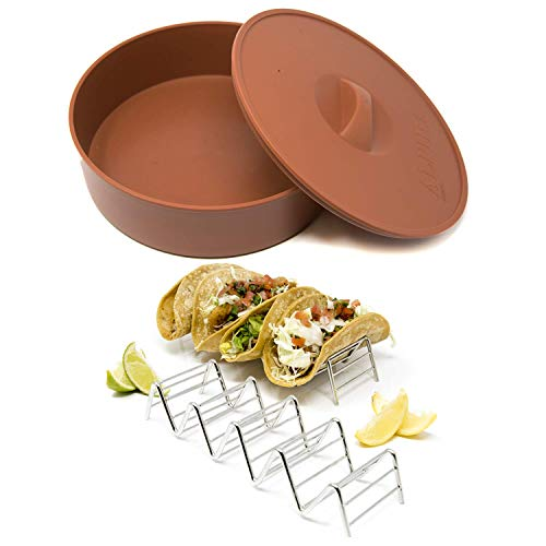 Alpha Living - Tortilla Warmer with 2 Taco Holder - 10 Inch Tortilla Server with Steam Release Hole Microwavable and Insulated - Stainless Steel Taco ()
