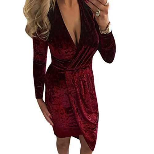 QIYUN.Z Terciopelo Vestidos para mujer Invierno Manga Larga Dobladillo Irregular Red Wine