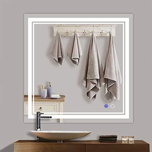Keonjinn 36 x 36 Inch LED Lighted Bathroom Vanity Mirror Anti-Fog Wall -