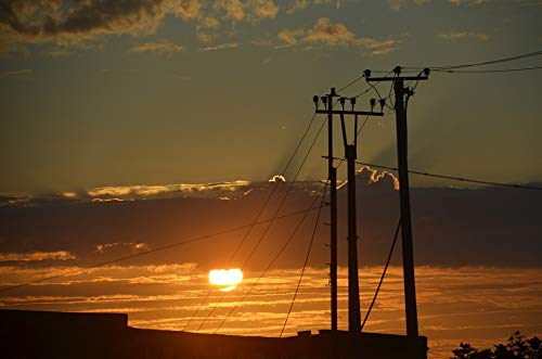 (Home Comforts Canvas Print Masts Sunset Telephone Poles Mast Power Poles Vivid Imagery Stretched Canvas 32 x 24)