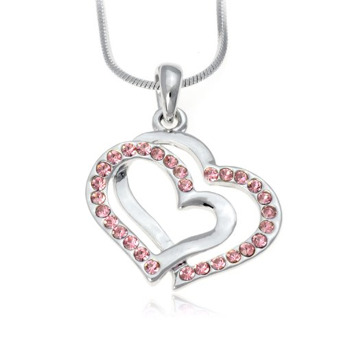 PammyJ Pink Crystal Silvertone Double Heart Charm Pendant Necklace, 17""
