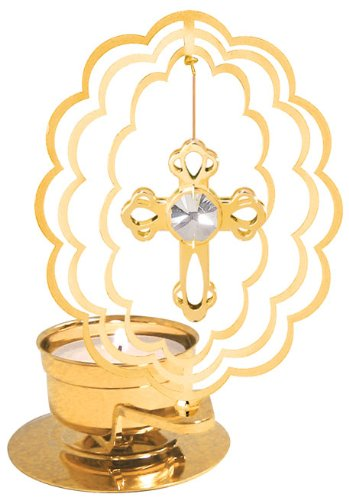 - Mini Cross in Scallop Oval Tea-Light..... With Clear Swarovski Austrian Crystal