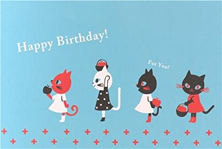 Image Unavailable Not Available For Colour Blue Cat Apple Happy Birthday Postcard Card From Japan
