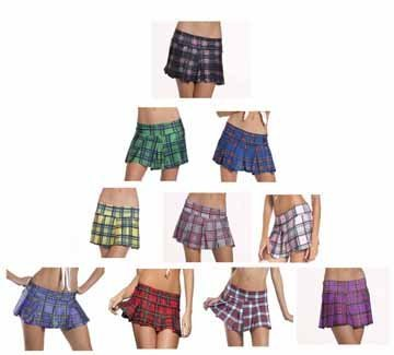 School Girl Plum Plaid Mini Skirt