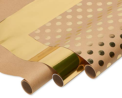 American Greetings Kraft and Gold Polka Dot Wrapping Paper, 75 sq. ft., 3-Roll