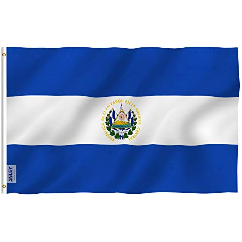 Anley Fly Breeze 3x5 Foot El Salvador Flag - Vivid Color and UV Fade Resistant - Canvas Header and Double Stitched - Salvadoran National Flags Polyester with Brass Grommets 3 X 5 Ft
