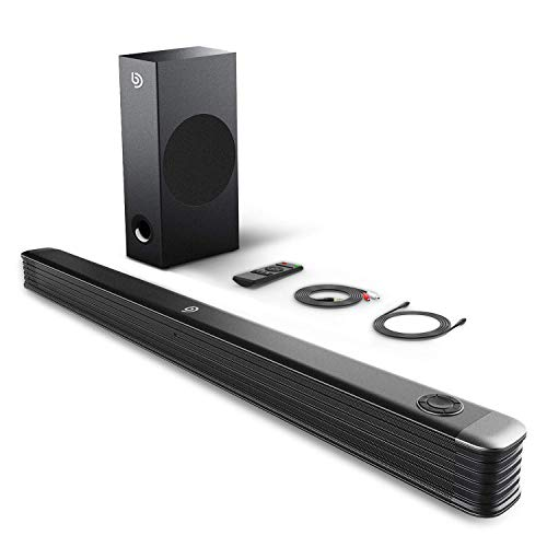 BOMAKER Sound Bar, 150W Soundbar with Wireless Subwoofer, 2.1 Channel Sound Bar for TV, 34 Inch Wired & Wireless Bluetooth 5.0, Enhanced Bass Adjustment, Optical/Coaxial/Aux/USB