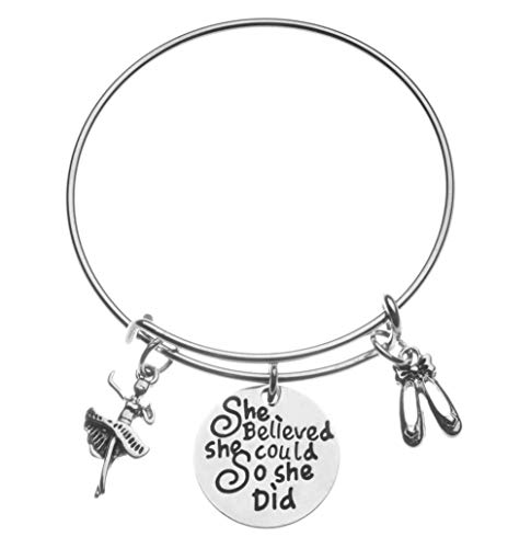 (Infinity Collection Dance Charm Bangle Bracelet- She Believed She Could So She Did Jewelry for Dance Recitals, Dancers and Dance Teams)