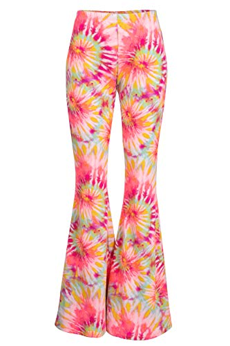 - Fashionomics Womens Boho Comfy Stretchy Bell Bottom Flare Pants (S, Pink Lemon)