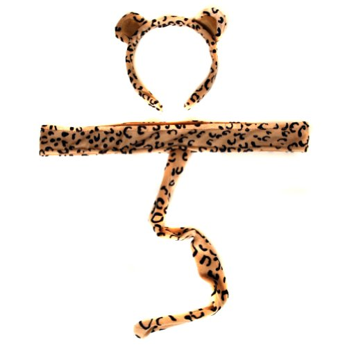 Plush Leopard Headband Ears and Tail -