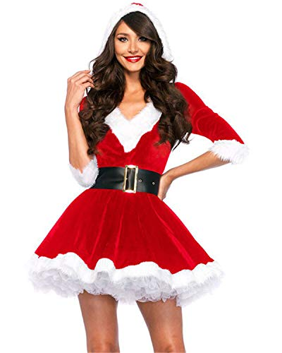 YHBAO Women's 2 Piece Mrs. Claus Costume Sexy Santa Cosplay Costume (One Size, Red) ()