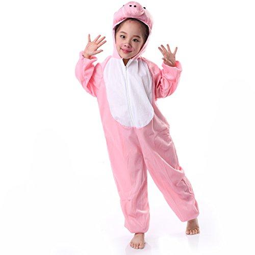 Children Animals Costume Cartoon Jumpsuit (7-8 Years, Pink pig)