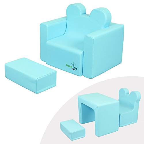 Dream Tree Toddler Table and Chair Set (Sofa Type) Washable, Safe Non-Toxic CPSIA Compliant Soft Foam Furniture for Baby, Kids, and Child - Blue by Dream Tree