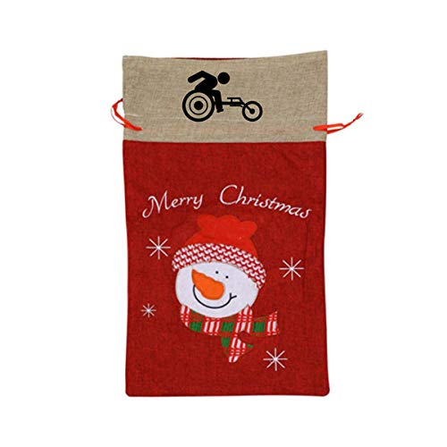VAbBUQBWUQ Wheelchair Racing Santa Clause Drawstring Candy Goody Toy Gift Stocking Bag Holiday Wrapping Party Favors Presents Decorations
