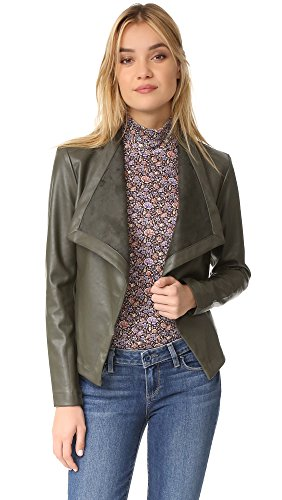 BB Dakota Women's Peppin Drape Front Jacket, Army Green, Small (Bb Dakota Leather Jacket)