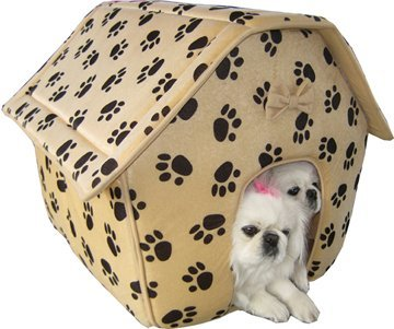 Designer Collapsible Paw Prints Pet House - Large