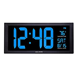 AcuRite 76100M Oversized LED Clock with Indoor Temperature, Date and Fold-Out Stand, 18-Inch, Blue