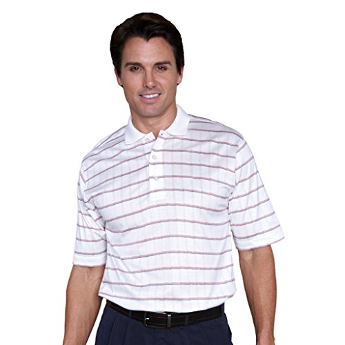 Monterey Club Mens Short Sleeve Pima Cotton Shirt #1274 (White/Red, X-Large)