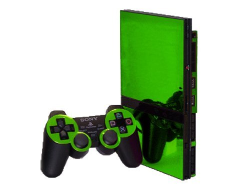 (Sony PlayStation 2 Slim (PS2 Slim) Skin - NEW - LIME CHROME MIRROR system skins faceplate decal mod )