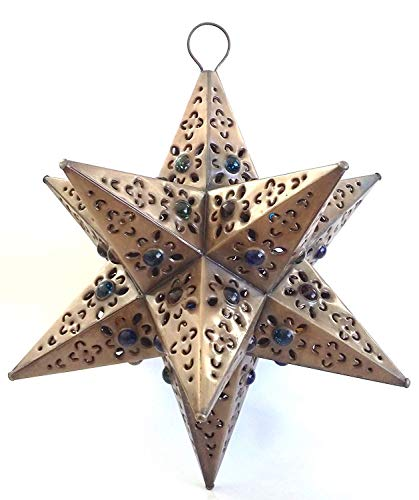 Shopimundo Unique and Beautiful Handmade Hanging Star Lamp with 12 Points! 12x12 Perfect for Home and Garden Decor Star Lantern with Marbles