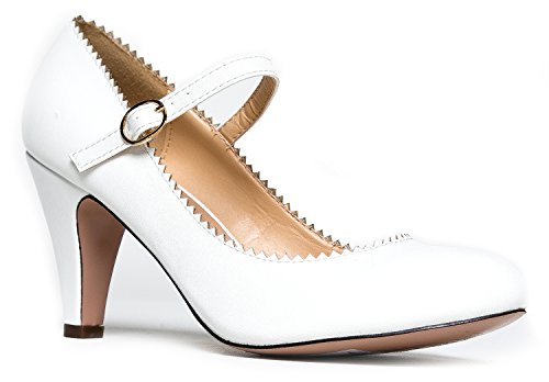 Mary Jane Kitten Heels, Vintage Retro Scallop Round Toe Shoe With An Adjustable Strap, 7 B(M) US, White PU