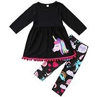 Geagodelia - Vestido de niña de unicornio, 2 piezas, camiseta de manga larga + pantalones largos de algodón, juego de…
