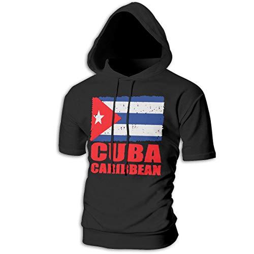 FiftyJoy1 Mens Flag of Cuban Cuba Flag Sports Short Hooded Sweatshirt Casual Fitness Pullover T-Shirt Black