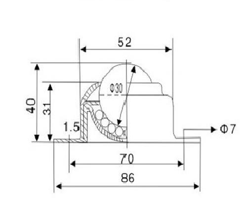 e-meoly dos agujeros 1.18/Nylon bola Transferencia Teniendo cinta transportadora para transmisi/ón muebles Paquete de 4/unidades