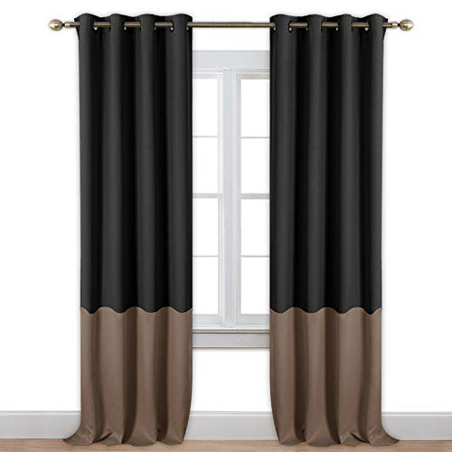 NICETOWN Color Block Blackout Drapes - Window Treatment Two Tone Thermal Insulated Grommet Blackout Curtains/Draperies for Hall (2 Pieces,52 by 84
