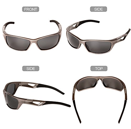 HODGSON Sports Polarized Sunglasses for Men Women, UV400 Protection Unbreakable Sports Glasses for Cycling, Baseball Riding, Driving, Running, Golf and Other Outdoor Activities (Dark Brown) by HODGSON (Image #5)