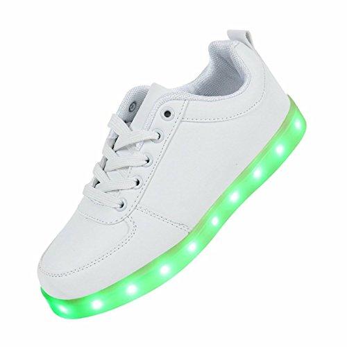 (Present:kleines Handtuch)JUNGLEST® 7 Farbe LED Leuchtend Sport Schuhe USB Aufladen Turnschuhe für Unisex Herren Da Weiß